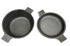 High Angle View On The Opened Cast Iron Pan Isolated Royalty Free Stock Image