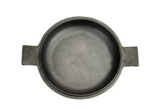 High Angle View On The Opened Cast Iron Pan Isolated Stock Images