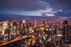 Osaka City lights from Umeda Sky Building in Japan royalty free stock photos