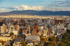 High angle view of osaka city with urban residence building stock photo
