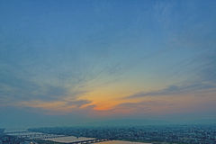 High angle view of Osaka city with Yodo river at sunset time. Stock Photos