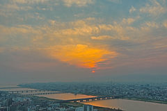 High angle view of Osaka city with Yodo river at sunset time. Stock Photo