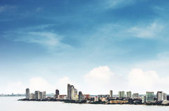 High angle view over Pattaya city with clear blue sky, landmark in east city of Thailand. High angle view over Pattaya city with clear blue sky,landmark in east Stock Photos