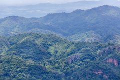High angle view over tropical mountains from sud pandin cliff viewpoint  at pa hin ngam national park in thai Royalty Free Stock Photography