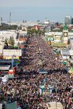High angle view on the overcrowded oktoberfest in munich stock image