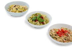 High angle view of pastas served in containers Stock Image