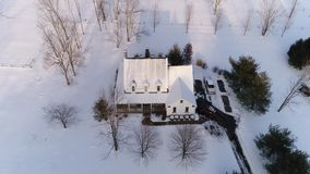 High angle view of Pennsylvanian farm house in winter stock video footage