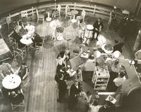 High angle view of people at  cocktail lounge aboard ship Royalty Free Stock Photography