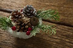 High angle view of pine cones and twigs with cherry in bowl stock image