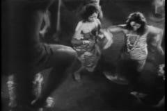 High angle view Polynesians dancing at luau