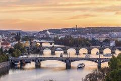 Prague bridges view Stock Photos