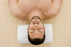 High angle view of relaxing male at spa Stock Photography