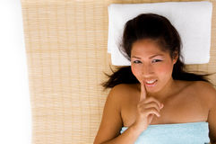 High angle view of relaxing smiling model Stock Image