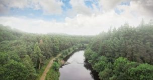 High angle view of river amidst trees Stock Photos