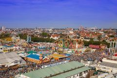 High angle view on the rollercoaster OLYMPIA LOOPING on the oktoberfest in munich with blue sky royalty free stock images