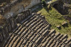 High angle view of ruins of ancient roman amphitheatre Stock Images