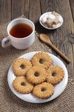 Cookies and tea for breakfast royalty free stock photography