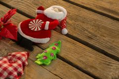 High angle view of Santa claus with Christmas tree Stock Images