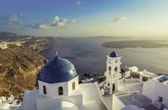 High angle view of Santorini blue dome churches Royalty Free Stock Photography