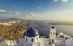 High angle view of Santorini blue dome churches Stock Photo