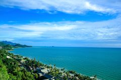 High angle view, sea and clear sky. stock images