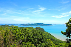 High angle view sea sky and seaside tourist town of Ao Chalong Stock Photography