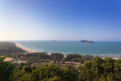 High angle view of the sea at Songkhla, Thailand.  Royalty Free Stock Image