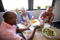 High angle view of senior people having salad and juice Royalty Free Stock Image