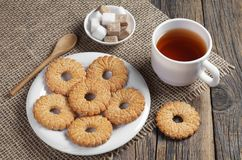 Shortbread cookies and cup of tea royalty free stock photography