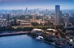 High angle view of Singapore city skyline at sunset. Stock Photography