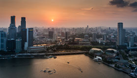High angle view of Singapore city skyline at sunset. Royalty Free Stock Photo