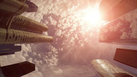 High angle view of skyline cityscape background. At sunset sky stock footage