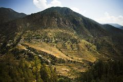 High angle view of small village with terraced field, Uttarkashi Stock Photos