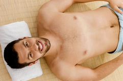 High angle view of smiling male at spa. A high angle view of smiling male at spa Stock Photography
