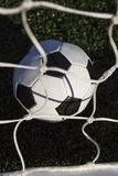High Angle View Of Soccer Ball And Net Royalty Free Stock Images