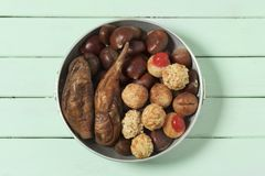 Sweet potato, chestnuts and Catalan panellets stock image