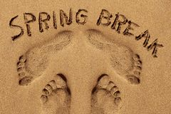 Text spring break in the sand of a beach. High angle view of some footprints and the text spring break written in the wet sand of the seashore of a beach royalty free stock photography