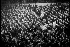High angle view of spectators, Madison Square Garden, 1930s stock video