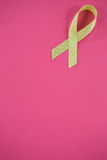 High angle view of spotted green Lymphoma Awareness ribbon Stock Photo