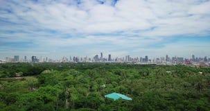 High angle view of Sri Nakhon Khuean Khan Park and Botanical Garden is located in Bang Krachao, Phra Pradaeng, Samut Prakan Provin stock video