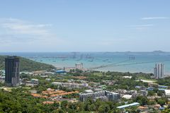 High angle view of sriracha harbor , sriracha one important of di. Stric in chonburi eastern of thailand royalty free stock image