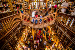 Porto, Portugal - 08 July 2017. High angle view of stairs in the bookstore Livraria Lello Royalty Free Stock Photo
