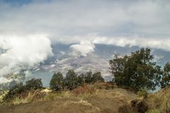 High angle view of steaming crater and lake of Mount Rinjani, Lo Royalty Free Stock Image