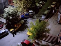 A high angle view of a street, cars and buildings in Istanbul, Turkey. N Stock Images