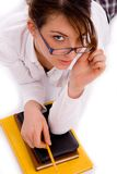 High angle view of student looking at camera Stock Photography