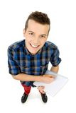 High angle view of student writing Royalty Free Stock Images