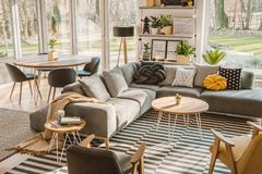 High angle view of a stylish, nordic living room interior with a stock photography