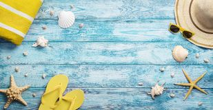 High angle view of summer, beach accessories Royalty Free Stock Photo