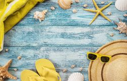High angle view of summer, beach accessories Stock Images