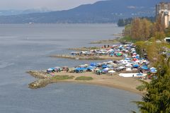 Vancouver and the 4-20 Event. High angle view of Sunset Beach and the 4-20 event where marijuana and all it`s many products are sold in an open public market in stock photos